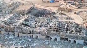 Beyrut'taki patlama alanından yeni drone görüntüsü