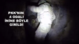 Teröristlerin 4 odalı mağarası böyle görüntülendi
