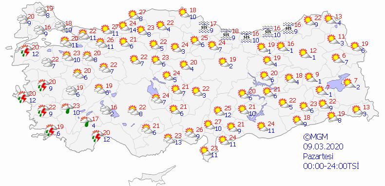 Türkiye geneli haritalı hava durumu: