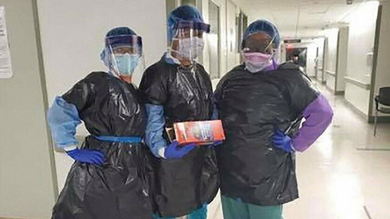 Önlükler bitince hemşireler çöp poşeti giydi