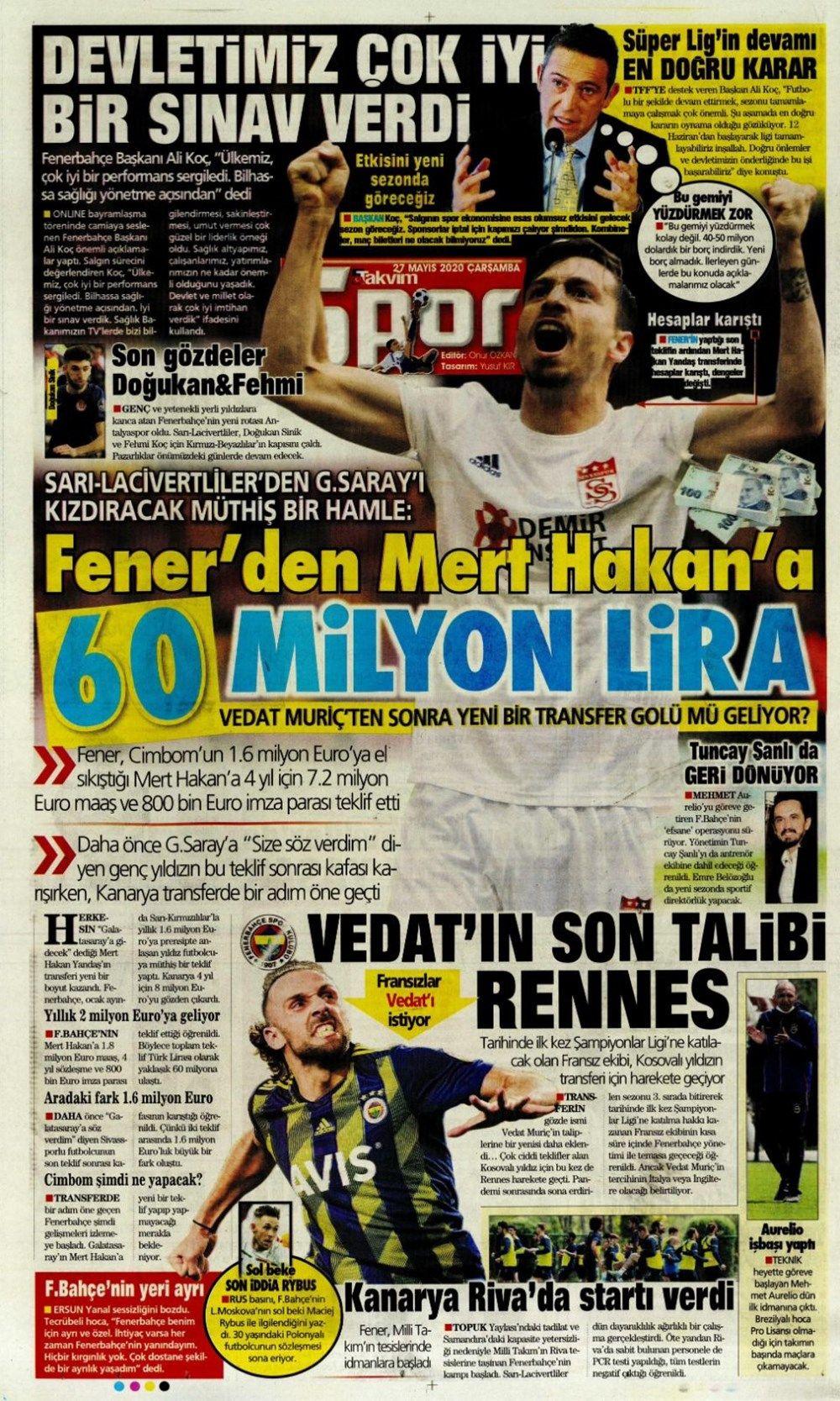 Spor gazetelerinin 27 Mayıs manşetleri - Sayfa 1