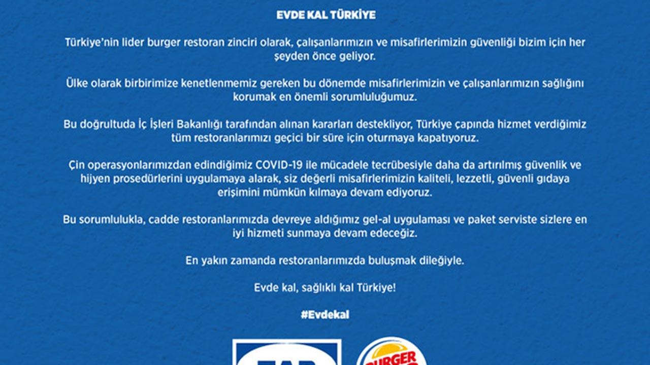 Burger King neden kapalı?