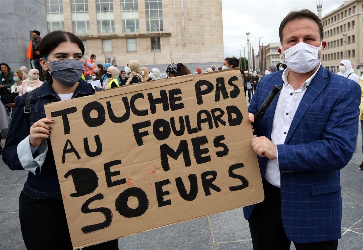 Brüksel'de binlerce kişi başörtüsü yasağını protesto etti - Sayfa 4