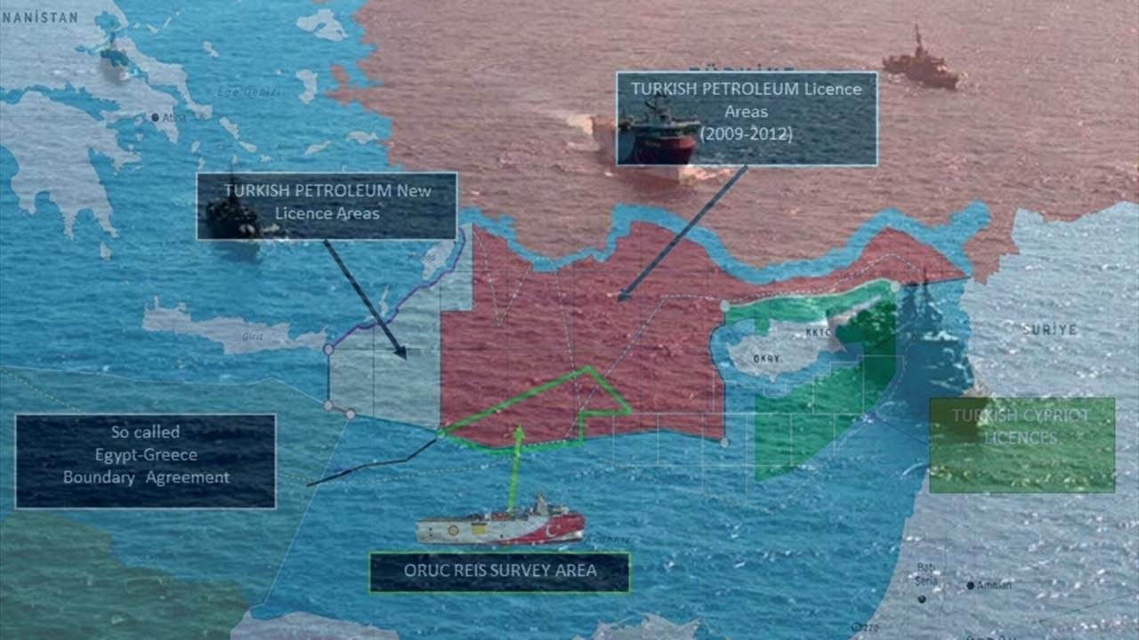 Dışişleri Akdeniz haritasını, MSB sahadaki gemileri paylaştı