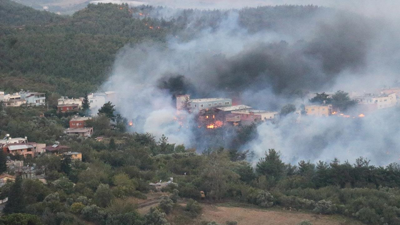 Hatay'daki orman yangınında korkunç manzaralar, alevler binaları bile yutuyor
