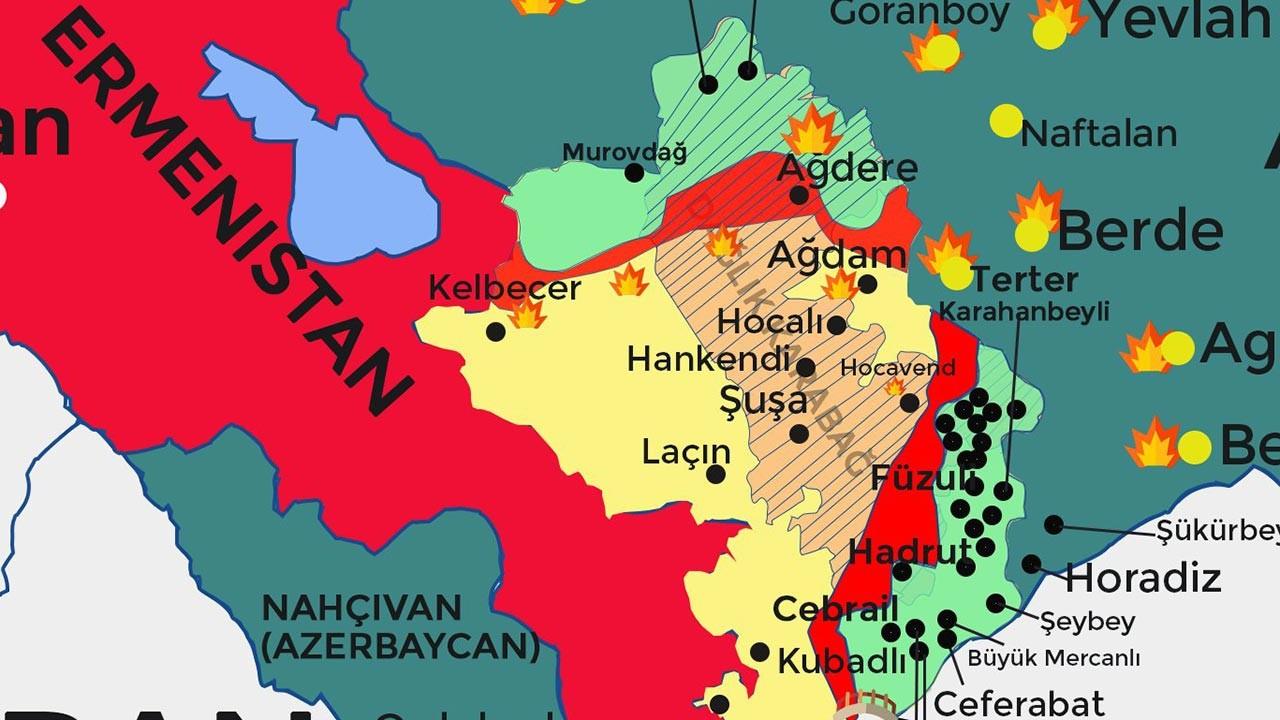 Azerbaycan Ermenistan Dağlık Karabağ son durum haritası 25 Ekim 2020