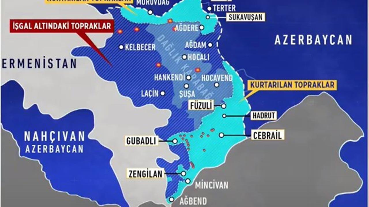 Azerbaycan Ermenistan Dağlık Karabağ son durum haritası 30 Ekim Perşembe