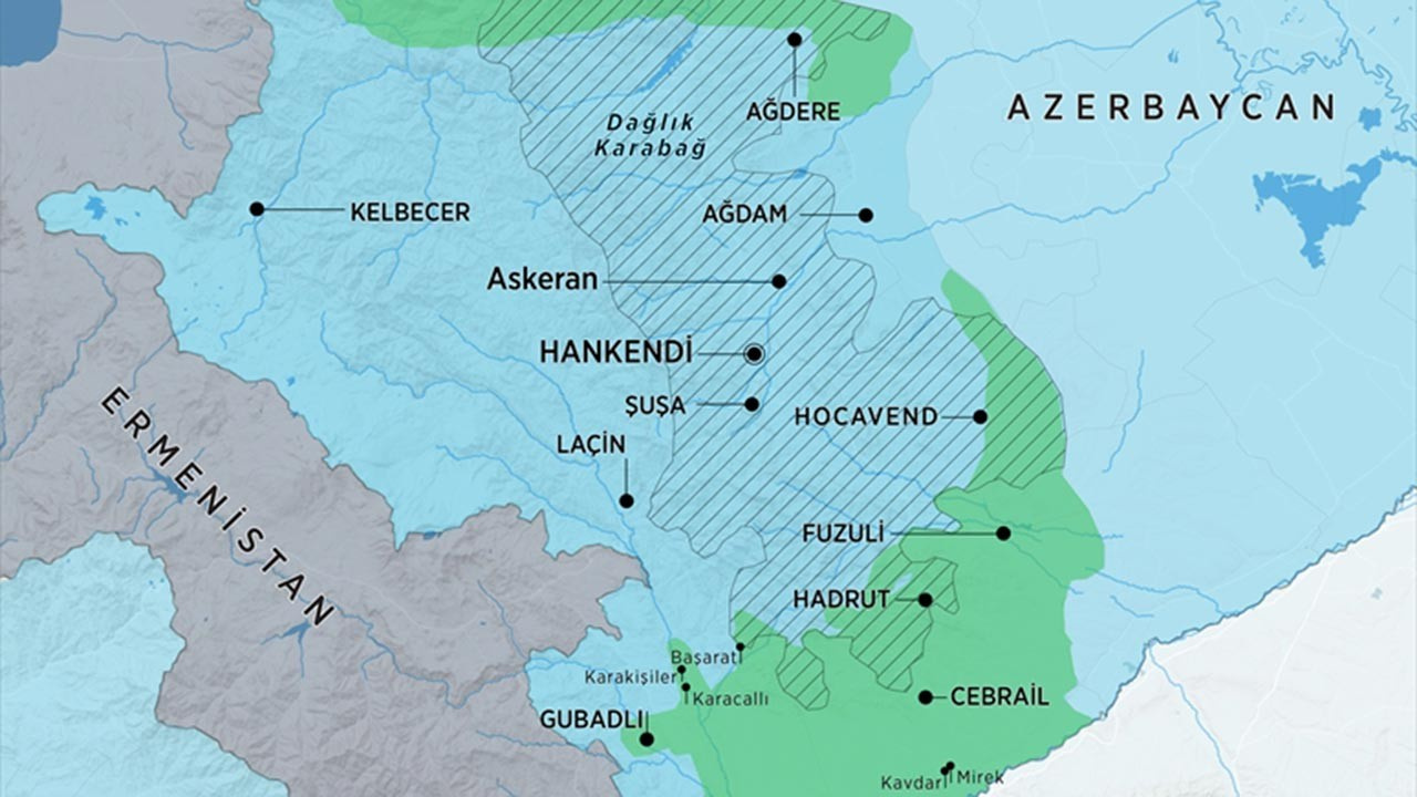 Dağlık Karabağ son durum haritası 20 Kasım Cuma