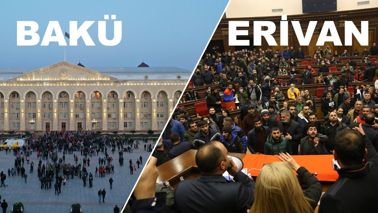 Azerbaycan'da kutlama Ermenistan'da protestolar