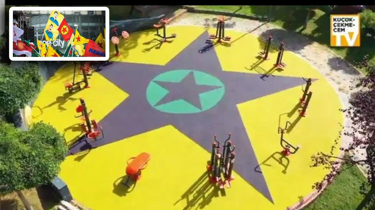 CHP-HDP-İyi Parti'nin ittifakla kazandığı belediyenin çocuk parkına PKK sembolleri