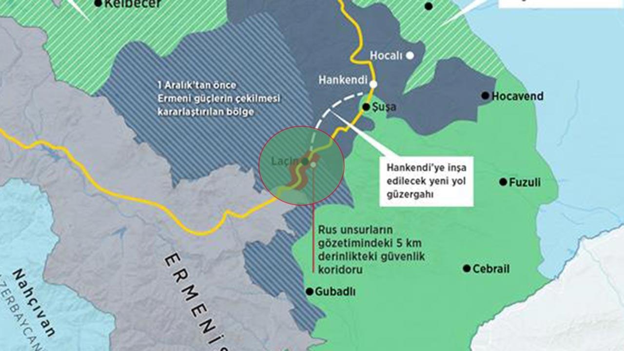 Dağlık Karabağ son durum haritası 30 Kasım 2020 Pazartesi