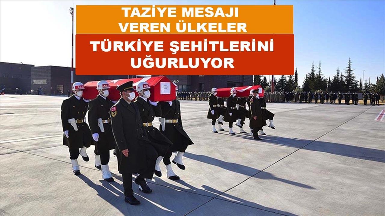 Türkiye'ye taziyelerini ileten ülkeler