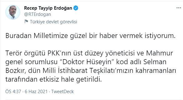 Cumhurbaşkanı Erdoğan Twitter'da duyurdu