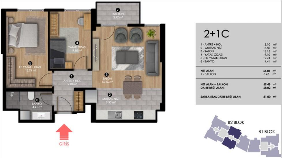 KİPTAŞ Tuzla Meydan Projesi daire planı
