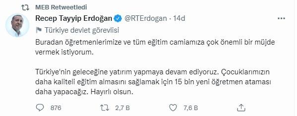 Ek atama son dakika: Cumhurbaşkanı Erdoğan 15 bin öğretmen daha atanacak