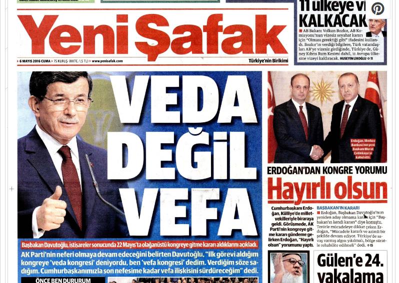 Davutoğlu'nun vefalı vedası manşetlerde