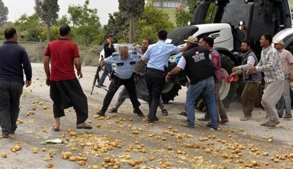 Çiftçi eyleminde polisle gerilim