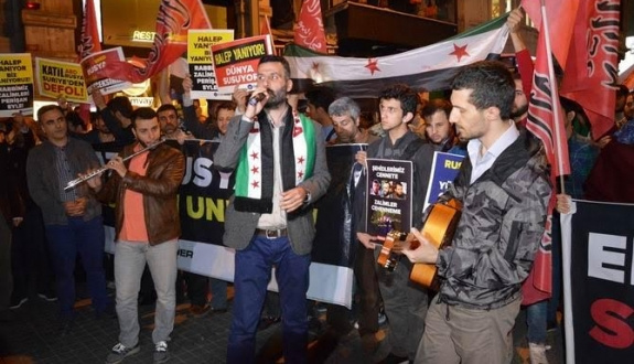 Halep katliamı İstanbul'da protesto edildi