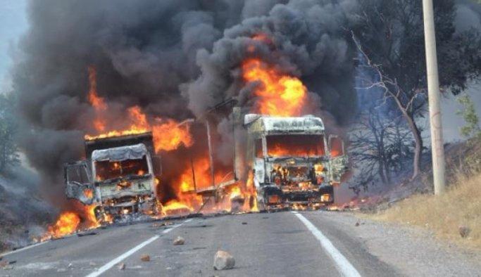 PKK Van'da 5 tır yaktı
