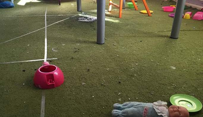 Teröristler anaokuluna bomba attı