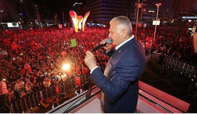 Başbakan Yıldırım halkı bugün de meydanlara çağrıldı