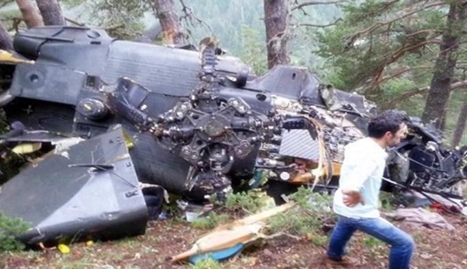 Helikopter kazasından ilk fotoğraflar