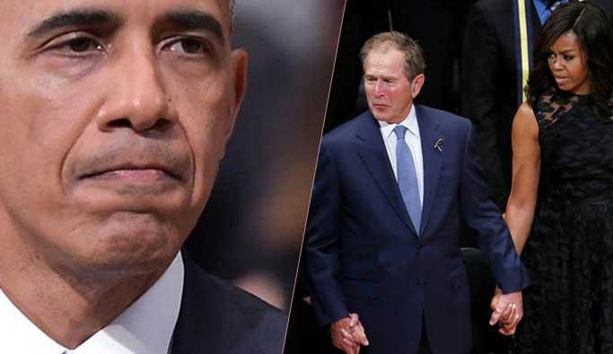 Cenazede Obama'dan gözyaşı Bush'tan dans