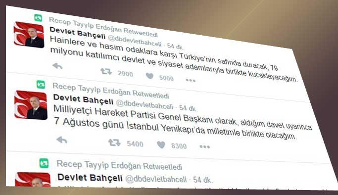 Erdoğan, Bahçeli'yi retweetledi