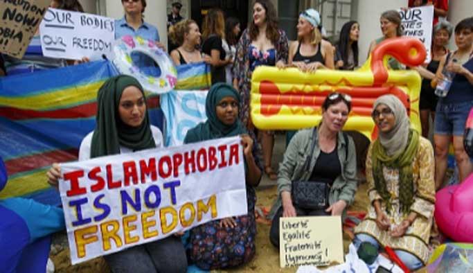 Fransa'daki haşema yasağı İngiltere'de protesto edildi