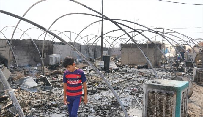 Irak'ta çadır kentte yangın