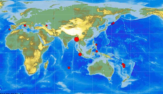 Son 24 saatte üç ülkede deprem oldu