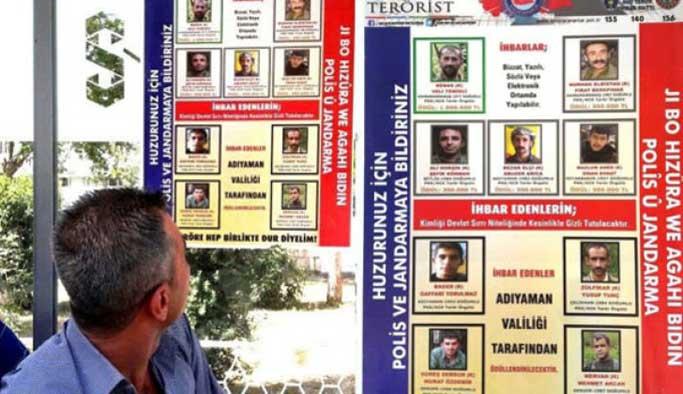 Teröristler Kürtçe afişlerle aranıyor