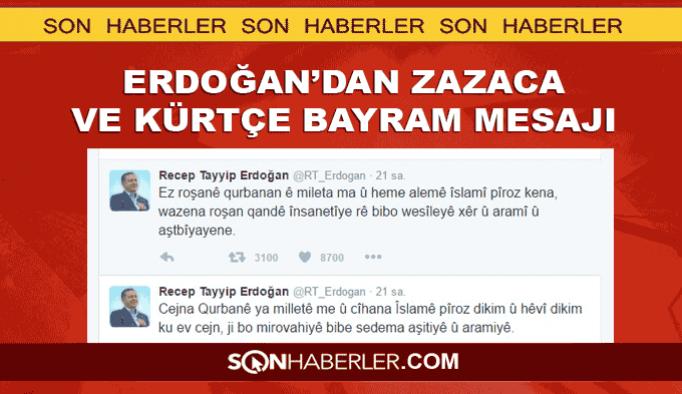 Erdoğan'dan Zazaca ve Kürtçe bayram mesajı