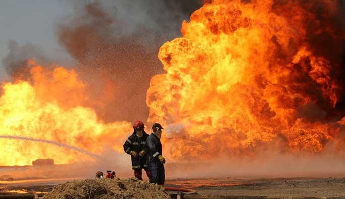 Irak petrolü alev alev yanıyor