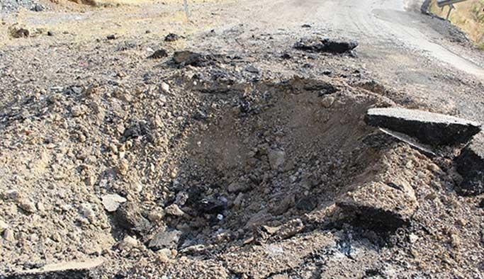 Teröristlerce yola tuzaklanan patlayıcı imha edildi