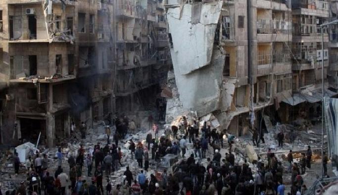 Halep'te yoğun bombardıman