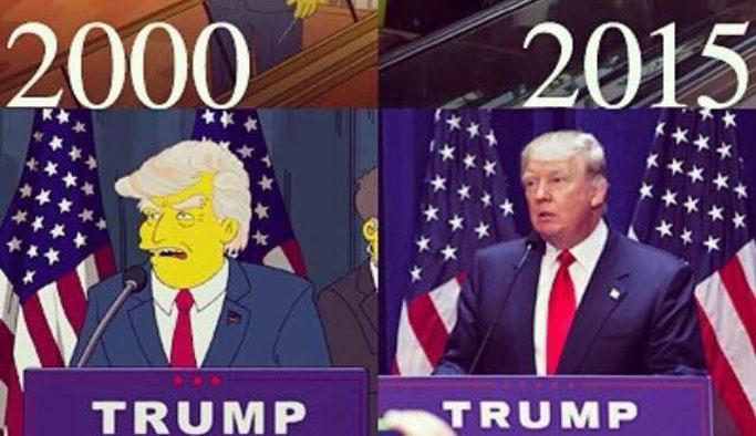 Trump'ı 16 yıl önce başkan seçen çizgi film