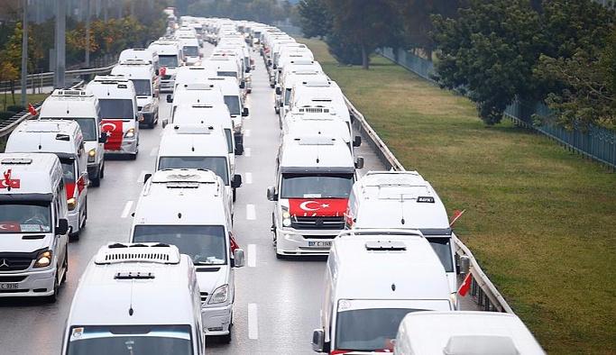 3 bin araçlık konvoyla teröre tepki