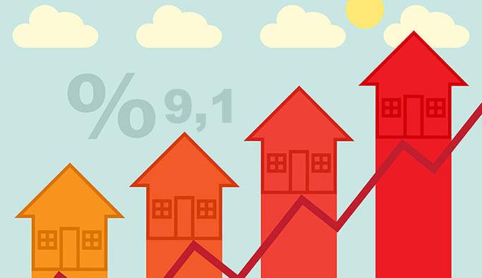 Konut fiyatları yüzde 9,1 arttı