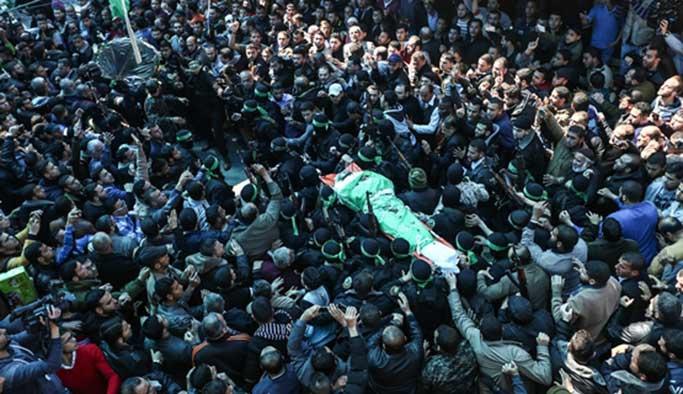 İsrail'in öldürdüğü Kassam komutanı uğurlandı