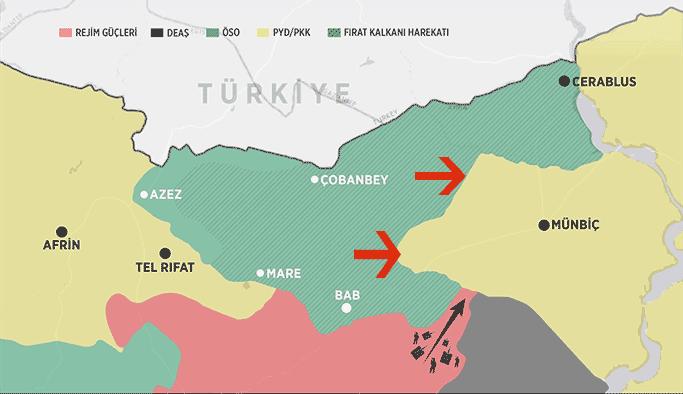 ÖSO Menbiç'e yönedi iki köy PYD'den alındı