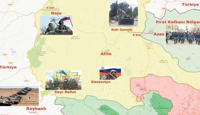 Rusya Afrin'de YPG'yi koruma çemberine aldı
