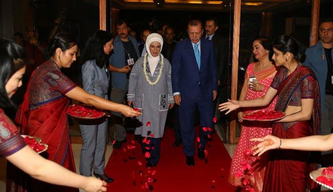 Erdoğan, Hindistan'da böyle karşılandı