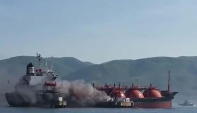 İzmit Körfezi'nde korkutan 'LPG' yangını