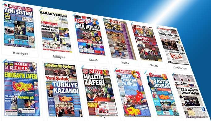 Manşetler, 'Halk ihtilali, milletin zaferi' dedi