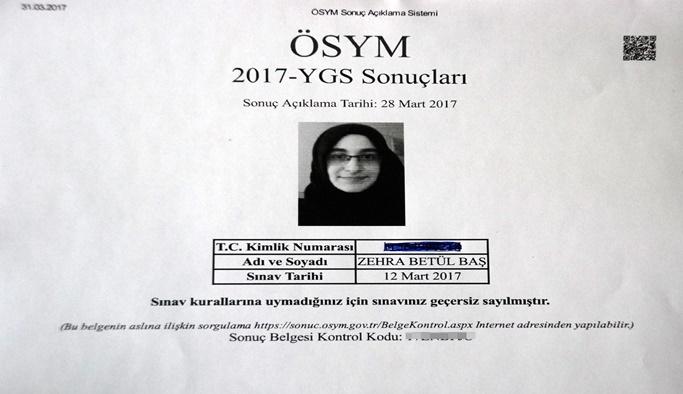 YGS'ye izin alarak ilaçla girmesine rağmen sınavı iptal edildi