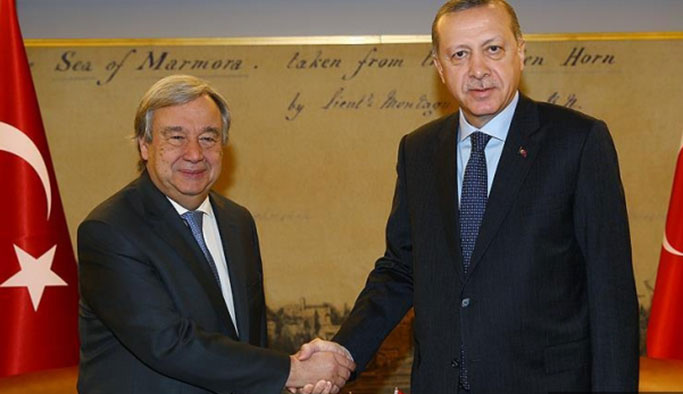 Erdoğan, Çin'de Guterres ile görüştü