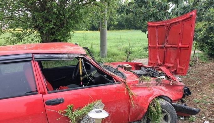 Otomobil tarlaya girdi: 1 yaralı