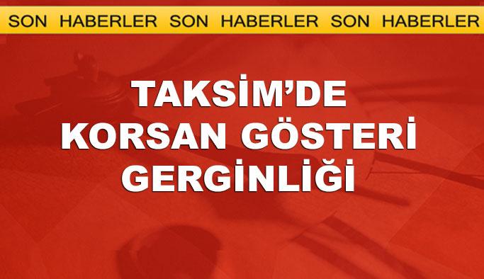Taksim'de pankart gerginliği, gözaltılar var