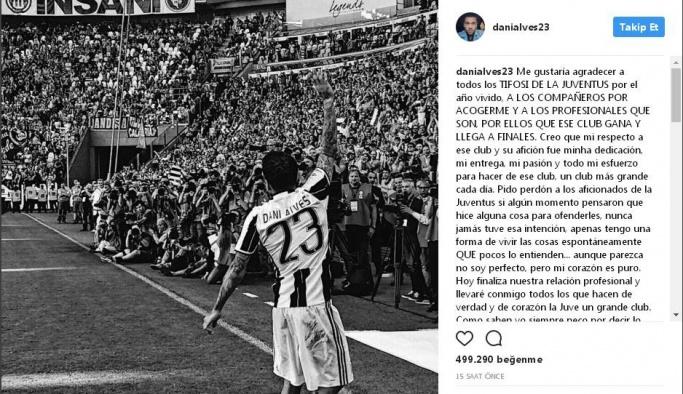 Dani Alves, Juventus ile vedalaştı